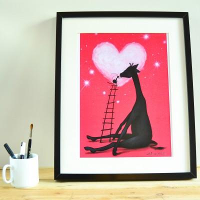 print jirafa noche roja