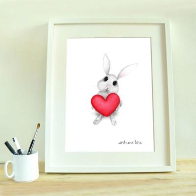 print conejo corazón
