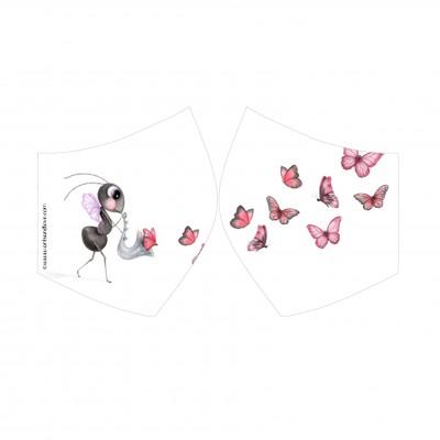 mascarilla mariposa blanco