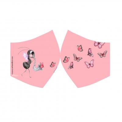 face mask mariposa rosa