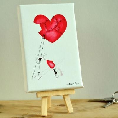 canvas corazón chapas